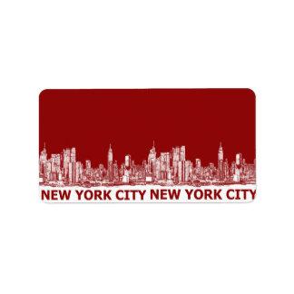 Marrón rojo de Nueva York Etiqueta De Dirección