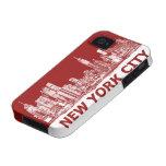 Marrón rojo de Nueva York iPhone 4/4S Carcasa