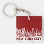 Marrón rojo de Nueva York Llaveros