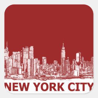 Marrón rojo de Nueva York Pegatina Cuadrada