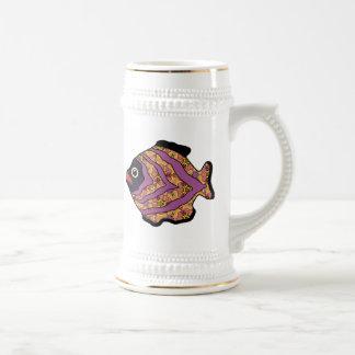 Marrón tropical Fish-14 con el modelo del oro Tazas De Café