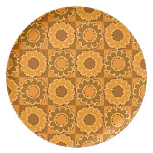 marrón y naranja del flower power de los años 70 r plato