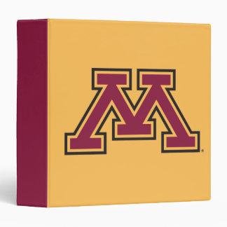 """Marrón y oro M de Minnesota Carpeta 1 1/2"""""""