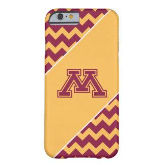 Marrón y oro M de Minnesota Funda De iPhone 6 Barely There
