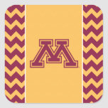 Marrón y oro M de Minnesota Colcomanias Cuadradas Personalizadas