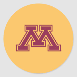 Marrón y oro M de Minnesota Pegatina Redonda