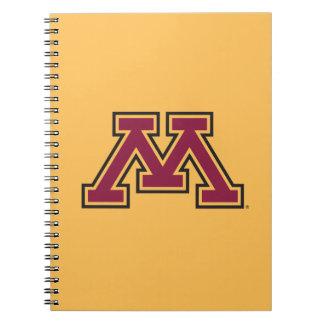 Marrón y oro M de Minnesota Spiral Notebooks