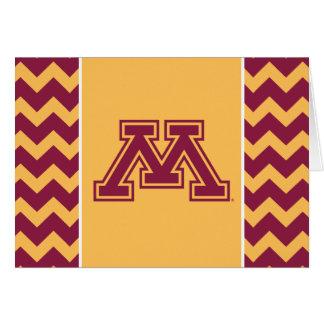 Marrón y oro M de Minnesota Tarjeta Pequeña