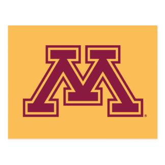 Marrón y oro M de Minnesota Tarjeta Postal