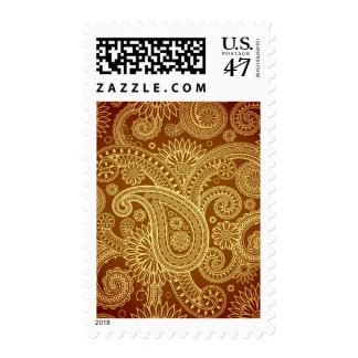 Marrón y oro Paisley pattern.png Timbres Postales
