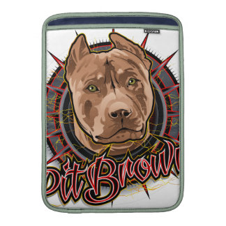 marrón y rojo radicales del pitbull del arte del fundas macbook air
