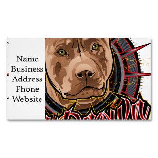 marrón y rojo radicales del pitbull del arte del tarjetas de visita magnéticas (paquete de 25)