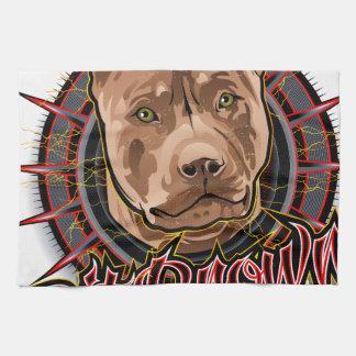 marrón y rojo radicales del pitbull del arte del toalla de mano