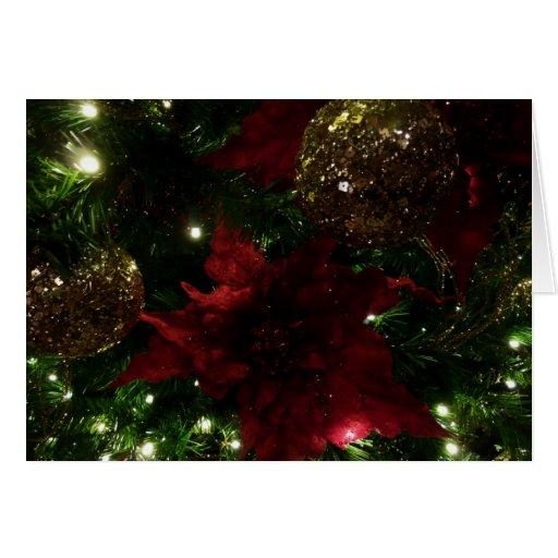 Marrón y tarjeta del árbol de navidad del oro