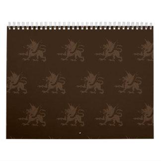 Marrones de los dragones calendario de pared