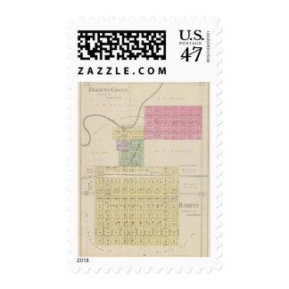 Marrones Groveand Burdett, Kansas Sello Postal