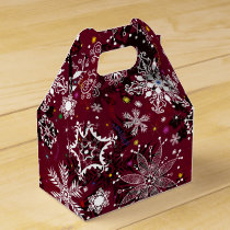 Marroon white snowflake pattern favor box
