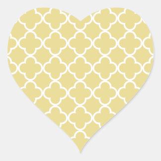 Marroquí amarillo y blanco Patte de las natillas Pegatina En Forma De Corazón