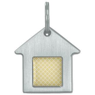 Marroquí amarillo y blanco Patte de las natillas Placa De Nombre De Mascota