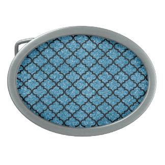 Marroquí azul brumoso del brillo hebillas de cinturón ovales