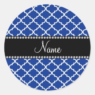 Marroquí azul conocido personalizado pegatina redonda