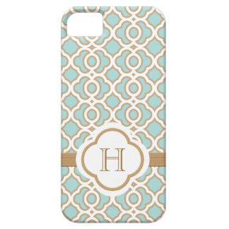 Marroquí azul del oro de la cáscara de huevo con m iPhone 5 fundas
