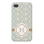 Marroquí azul del oro de la cáscara de huevo con m iPhone 4 protectores