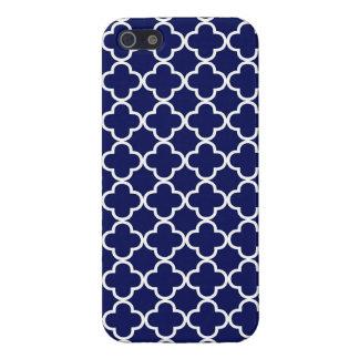 Marroquí azul marino Quatrefoil iPhone 5 Carcasas