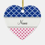 Marroquí azul personalizado de los corazones rosad ornamentos de navidad