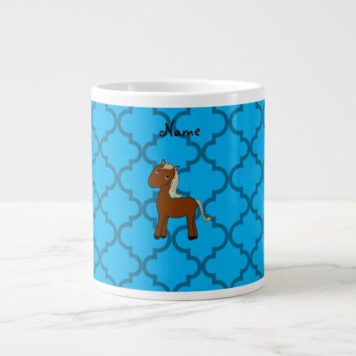 Marroquí azul personalizado del caballo conocido tazas jumbo