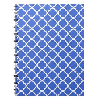 Marroquí azul Quatrefoil de Han Libros De Apuntes Con Espiral