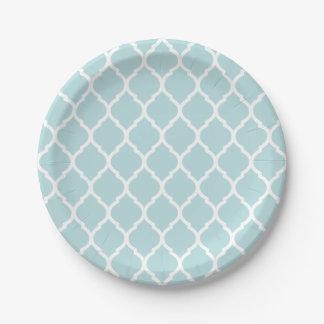 Marroquí azul y blanco Quatrefoil del huevo de los Plato De Papel De 7 Pulgadas
