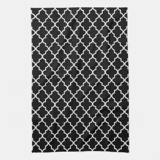 Marroquí blanco y negro moderno Quatrefoil Toalla