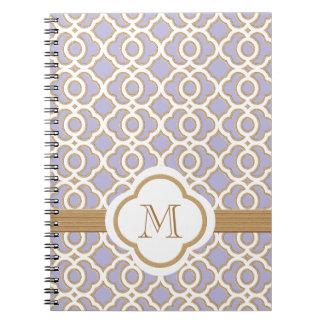 Marroquí con monograma de la lavanda y del oro cuaderno
