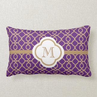 Marroquí con monograma de la púrpura y del oro almohada