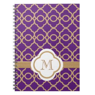 Marroquí con monograma de la púrpura y del oro libreta
