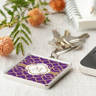 Marroquí con monograma de la púrpura y del oro llavero cuadrado plateado