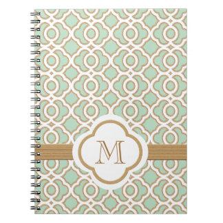 Marroquí con monograma de la verde menta y del oro libretas espirales