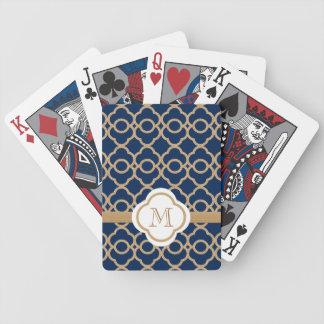 Marroquí con monograma de los azules marinos y del barajas de cartas