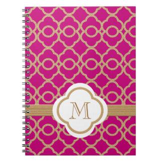 Marroquí con monograma del fucsia y del oro spiral notebooks