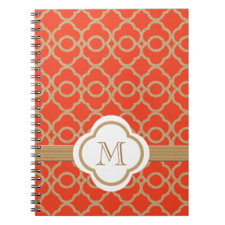 Marroquí con monograma del naranja y del oro notebook