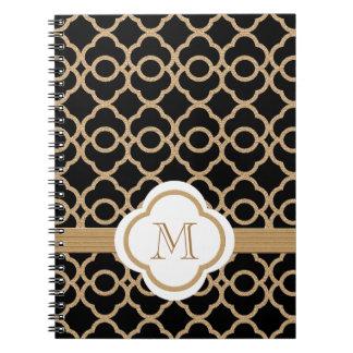 Marroquí con monograma del negro y del oro notebook