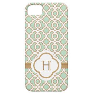 Marroquí con monograma del oro de verde menta iPhone 5 Case-Mate cárcasa