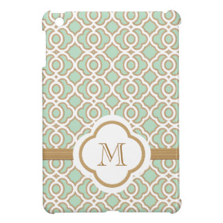 Marroquí con monograma del oro de verde menta iPad mini coberturas