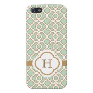 Marroquí con monograma del oro de verde menta iPhone 5 carcasas