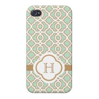 Marroquí con monograma del oro de verde menta iPhone 4 carcasa