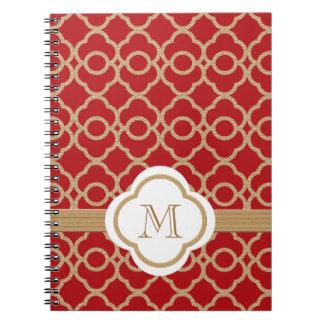 Marroquí con monograma del rojo y del oro libro de apuntes