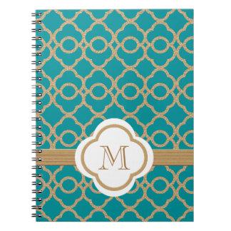 Marroquí con monograma del trullo y del oro spiral notebook