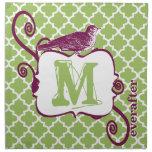 Marroquí del pájaro del vintage del monograma de l servilleta