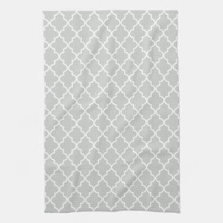 Marroquí gris claro y blanco moderno Quatrefoil Toallas De Cocina